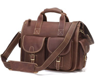 2013 vintage crazy horse leather handmade genuine leather Men handbag messenger briefcase  1021