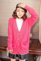 Rabbit fur cardigan bright color ubiquitous1 gradient sweater outerwear 3075008
