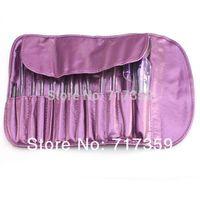3sets/lot, 13pcs/set Professioal Makeup Brush Set with Black Leather Case, Free Shipping AY600155