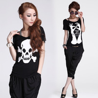 Tops new fashion 2013 summer stretch cotton print pattern skull hand faux two piece set basic o-neck short sleeve T shirt women