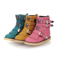 2013 hot flat motorcycle boots plus size women's shoes skull buckle martin boots free shipping