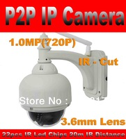 HD 720P IP camera  Built-in IR CUT 3.6mm lens Plug and Play outdoor waterproof dome Wireless Wifi camera TF Card