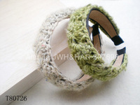 12pcs/lot, Cute handcrafed wide wool crochet headband feminine wool hairband T80726 free shipping 6colors