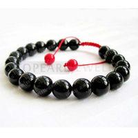 Free Shipping! 8mm Black Agate Beads Tibetan Buddhist Mala Bracelet for Meditation Rosary SBR113