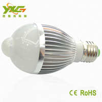 High bright 7W Alumnum motion sensor lamp, e27 holder, led infrared induction bulbs