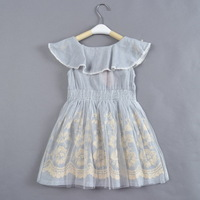free shipping 5pcs/lot 4-8 years girls high quality cotton elegant dress children flower embroidery casual dresses baby dress