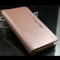 Promotion!!!Male medium-long plaid genuine leather wallet,zipper wallet    Free shipping