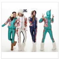 2014 new fashion women down jacket print short down coat set women winter downt coat+pants women winter clothing sets,S-XL