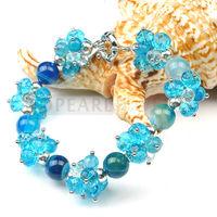 Free Shipping! Blue Agate Stone, Crystals Bracelet 8 Inch SBR350