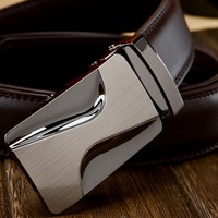 Brown top men genuine leather belt belt cowhide automatic buckle belt 3.5