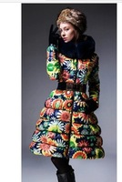 2013 Newest fashion women long down jacket, beautiful sun flower fancy fox fur down coat female women clothing,S-XL