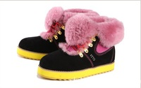 free shipping new 2013 genuine leather suede fur lining ankle boots women retail wholesale