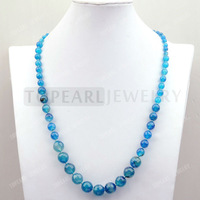 Free Shipping! Graduated Faceted Round Blue Agate Necklace 25inch GN395