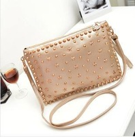 Designer Handbags Women 2013 Solid Purses and Handbags Leather Evening Clutch Bags with Rivet Stars Cross body Bag 3 colors