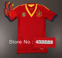 A+++ Spain 2013-2014 New Player Version Techfit Thailand Soccer Shirt Football Authentic Jersey Custom Busquets Fabregas Xavi