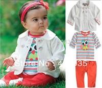 SH329 Baby Girls Set Cartoon owl stripes 3pcs sets of new Kids suit Jacket coat + T shirt + pants Children clothing set Retail
