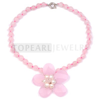 Free Shipping! Rose Quartz Beads Flower Pendant Necklace GN390