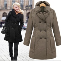 Free Shipping 2013 New Fashion Winter Warm Women Parka Long Coat Thicken Slim Outwear Plus Size Black Brown