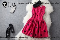 2013 autumn and winter fashion small embroidery dot woolen slim one-piece dress rabbit fur