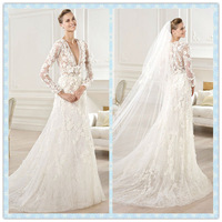 elie saab 2014 Deep V-neck Lace Long sleeve see through wedding dress