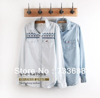 freeshipping Seagull hcoNational embroidery cotton  padded long-sleeve retro finishing water wash light blue women's denim shirt