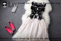 2013 spring fashion royal wind stereo disk flowers patchwork slim puff skirt women's one-piece dress