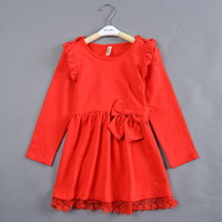 Baby Girls Christmas New Year Red Bow Lace Dress Children Autumn Winter long Sleeve Party Dress Free Shipping