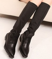 Elastic boots thick heel pointed toe high-leg boots spring and autumn martin boots