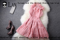Jorya 2013 spring and summer women's embroidery silk solid color slim one-piece dress