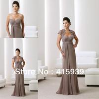 Hot sell a line sweetheart applique bolero jacket long chiffon mother of the bride dress MQ038