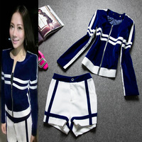 2013 autumn and winter star style high quality velvet zipper white luxury slim top jacket short shorts set