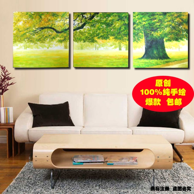 Handmade Oil Painting 3 Piece Painting Picture No Frame Trippings Green Landscape Spring Leaf Pictures Decor Modern Paintingsus 99 00 Lot3 Pieces Lot