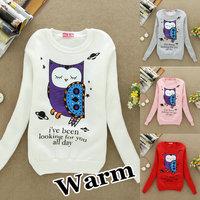 S35 Fashion Warm Cardigan Hoodies Sweatshirts Fur Outerwear Cartoon Animal Owl Printed Women .Causal Sports Outdoor Jackets Coat