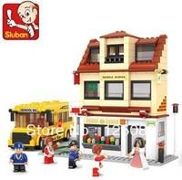 Sluban M38-B0333 496pcs 3D construction eductional plaastic Building Blocks Sets City  Buses Children toys Chiristmas Gifts
