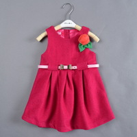 Children Girls 2013 Autumn Winter Christmas Red Elegant Pary Dress W Belt and Flower Kids Fashion Evening Dress