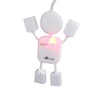 High Speed 4 Ports USB 2.0 Hub White Mini Man USB HUB--- 100%high quality free shipping