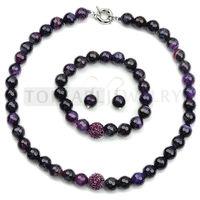 Free Shipping! Purple Agate, Crystal Shamballa Necklace Bracelet & Hook Earring Set GN332