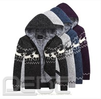 FREE SHIPPING Men Winter Warm Cardigan Sweater Knitwear Jumper Hooded Jacket Fleece Lined Coat