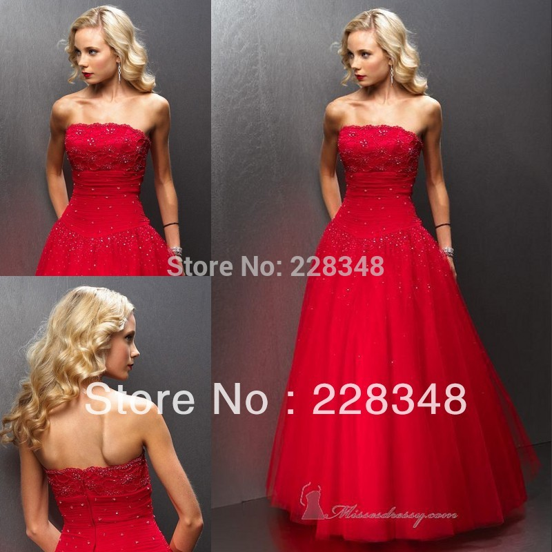 Cheap Red Poofy Prom Dresses