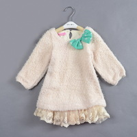 free shipping 5pcs/lot kids fashion autumn short lace dress children girls lovely blouse