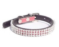 2013 Lefdy New pink designer Dog collar with rhinestones white Leather and pet products free shipping