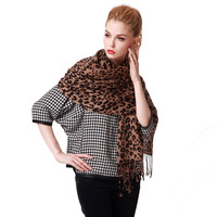 Women's classic leopard print design long scarf cape
