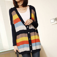 2013 spring and autumn all-match batwing sleeve plus size stripe loose sweater women's thin outerwear
