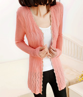 new fashion 2013 autumn summer winter brand medium-long long-sleeve loose slim waist cutout cardigan sweater outerwear