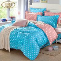 Little sheep 100% cotton four piece set princess polka dot 100% cotton duvet cover bed sheets