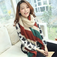 Scarf autumn and winter female vintage stripe bevel yarn scarf cape dual-use ultra long knitted scarf muffler