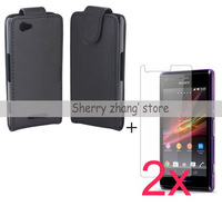 For Sony Xperia M C1904 C1905,leather case cover+2x clear screen protector lcd film guard,High quality