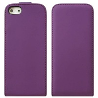 Free Shipping, Flip Slim Cow Skin Leather Case Cover For iPhone 5 5S