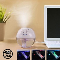 New Arrival USB Powered Piggy Style Ultrasonic Humidifier Diffuser with Touch Switch Colorful LED Light (White)
