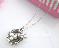 1pc Free shipping !! Beautiful Silver artificial bird nest  bird nest necklace High Quality